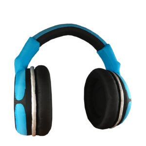 Silent Sound System Giant Inflatable Headphone Blue Transparent Background