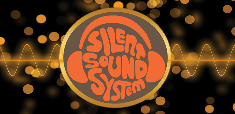 silent sound system logo with silent disco headphones in orange
